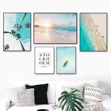 Red Mountain Coconut Tree Beach <b>Blue Sea</b> Wall Art Canvas ...