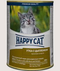 <b>Консервы</b> для кошек <b>Happy Cat</b> утка и цыпленок купить с ...