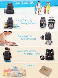 Hap Tim Multifunction Large <b>Baby</b> Diaper <b>Bag Backpack</b> W <b>Stroller</b> ...