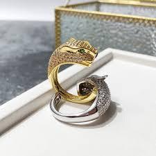 2019 New Punk Leopard Head <b>Green Eyes</b> Opening Diamond Ring ...
