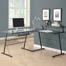 astonishing glass top working desk with leaning black wrought iron frame with l office desk also astonishing office desks