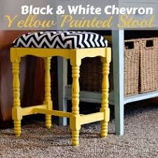 chevron fabric and sunshine yellow stool makeover home decor painted furniture reupholster chevron painted furniture