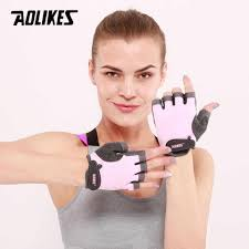AOLIKES <b>1 Pair Men</b> Women Gym Half Finger Sports Fitness ...
