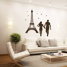 sun wall decal trendy designs: rushed eiffel tower paris sights wall decals romantic couple love vinyl sticker home decor bedroom backdrop