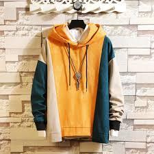 <b>Men's</b> Contrast Color <b>Stitching</b> Hoodies Loose <b>Casual</b> Sweatshirts ...