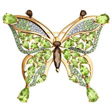 Брошь <b>бабочка с хризолитами</b> купить