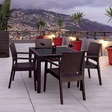 patio dining: compamia miami wickerlook  piece coffee brown glass patio dining set