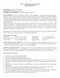 patient care technician job description for resume make resume cover letter patient care technician sample resume