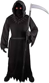 Grim Reaper Costume for Kids with Light Up Red ... - Amazon.com