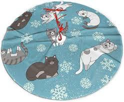 Funny Cartoon Cute Gray White Cats Merry Christmas ... - Amazon.com