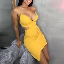 <b>Summer</b> Yellow Bodycon Mini <b>Dress 2019</b> Women Cut Out Sexy ...