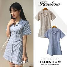 <b>Korean Summer</b> Short <b>Dress Girls</b> Vintage Lapel Striped Botton ...