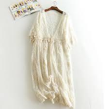 Mori Girl Lace Embroidery Cardigan Chemise Femme <b>Bohemian</b> ...