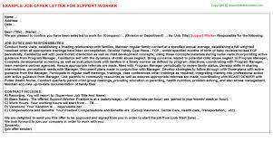 worker job titlesupport worker job offer letter