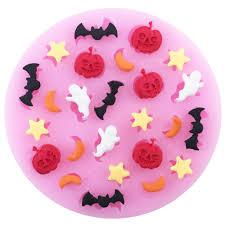<b>Halloween</b> Pumpkin Star Moon Bat Shape <b>Silicone Cake Mold</b> ...