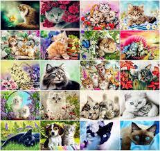 <b>AZQSD Diamond Mosaic</b> Cat Diamond Painting <b>Animal</b> Rhinestone ...