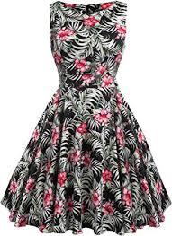 ACEVOG Cocktail Dress 1950's Floral Vintage Party ... - Amazon.com