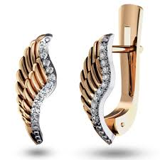 <b>Серьги</b> Ангельские <b>крылья с бриллиантом</b> из красного золота ...