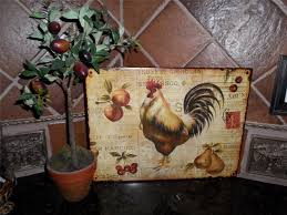 Rooster Chicken Kitchen Decor Country Tuscan Rooster Metal Sign Plaque Wall Plate Rack Kitchen