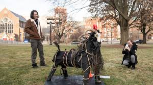The <b>Satanic</b> Temple of West Mich. put up a straw <b>goat</b> on Capitol lawn