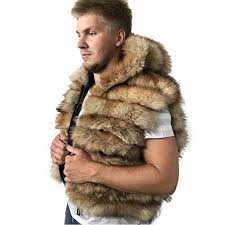 Bomber Men coat vest jacket Hood natural fur fox ... - Amazon.com