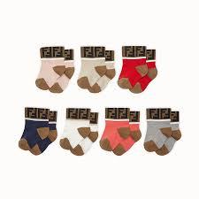 <b>7 pairs</b> of multicolour cotton socks - <b>7 PAIRS</b> OF SOCKS | Fendi