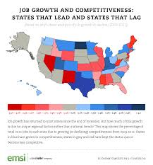 states that lead and lag in job growth and competitiveness