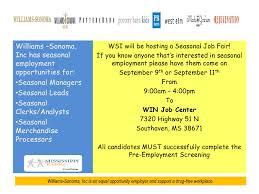 seasonal job career news from the memphis public library williams sonoma job fair sept 9 11 1