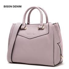<b>BISON DENIM</b> - Genuine <b>Leather</b> Shoulder Bag Large Capacity ...