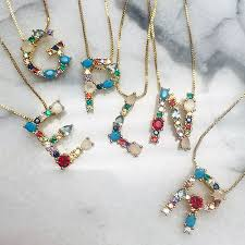 cz initial necklace