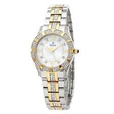 bulova ladies 2 tone mother of pearl dial crystal accented bulova ladies mother of pearl crystal bracelet watch