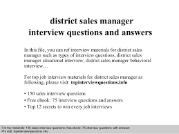Interview questions and answers     free download  pdf and ppt file district sales manager interview     SlideShare