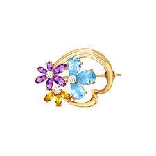 <b>Брошь с цветками</b> из камней SOKOLOV – купить в официальном ...