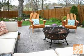 outdoor sectional with adirondack chairs and a fire pit after a patio makeover stained wooden adirondack chairs from home depot awesome home depot patio