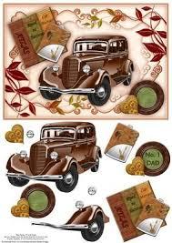 <b>Vintage Brown Car</b> A5 Topper & Decoupage | Decoupage ...