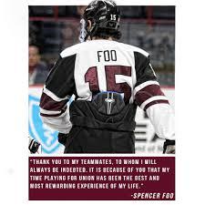 union hockey on spencer foo to forego senior season retweets 62