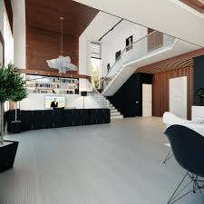a collection of with charming wooden floor and black white sofa chairs and white bookcase also open living room beautiful open living room