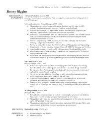 project manager sample resume cover letter sample resume program management resume format