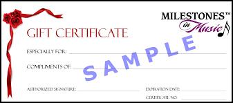 gift certificates milestones in music llc milestones in music gift certificate