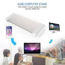 <b>4 Ports</b> USB Monitor Stand Holder Phone <b>Charger</b> Desktop <b>Bracket</b> ...
