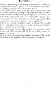 Contec Medical Systems <b>BC401 Urine Analyzer</b> User Manual