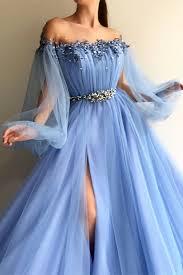 <b>Elegant Blue</b> Long Sleeves Off the Shoulder <b>Beaded</b> Crystal Side ...