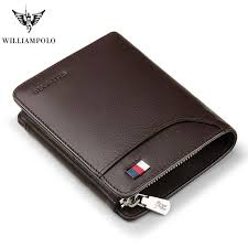 WILLIAMPOLO <b>Genuine Leather</b> Men Wallets <b>Luxury Brand</b> Trifold ...