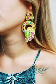 Soutache long light green <b>lime</b> yellow pink earrings Swarovski ...