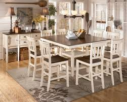 extension table f: whitesburg  piece square counter height extension table set in brown white