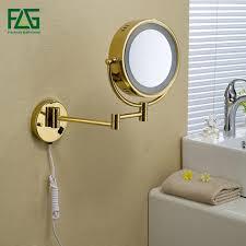 "<b>Golden Brass LED</b> Light Makeup Mirrors 8.5"" Round Dual Sides 3X ..."