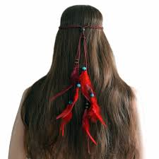 Retro Turkish <b>Red Feather</b> Wood Beads Gypsy Tribe Hair bands for ...
