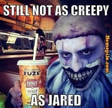 Fogle, still not, as creepy, Jared, scary, clown, meme - Memepile via Relatably.com