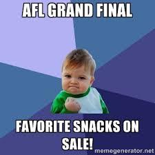 AFL Grand Final Favorite snacks on sale! - Success Kid | Meme ... via Relatably.com