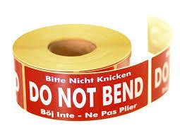 Do Not Bend <b>Labels</b> - <b>136mm</b> x 50m | Priory Direct